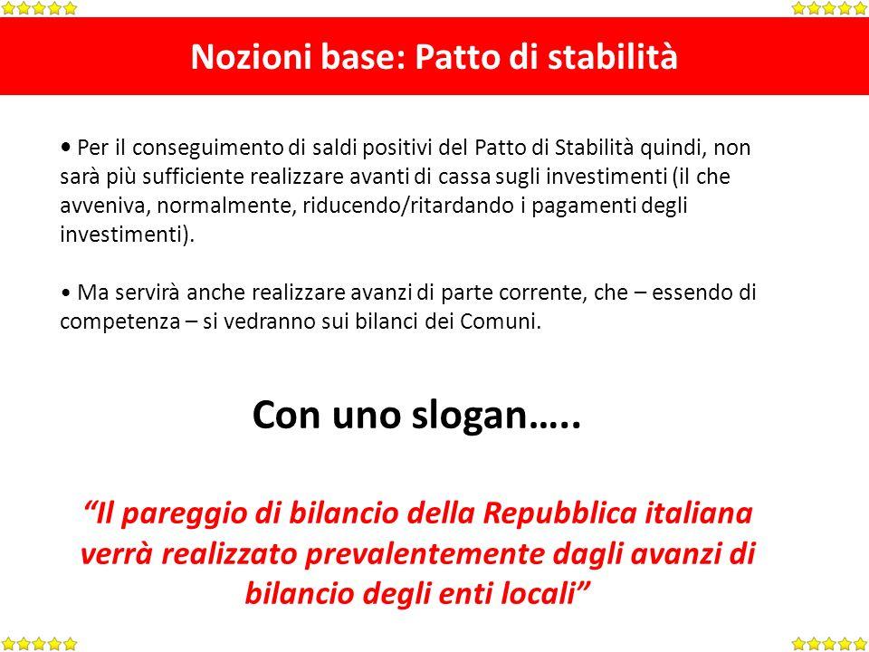 Nozioni base: Patto di stabilità Per il conseguimento di saldi positivi del Patto di Stabilità quindi, non sarà più sufficiente realizzare avanti di c