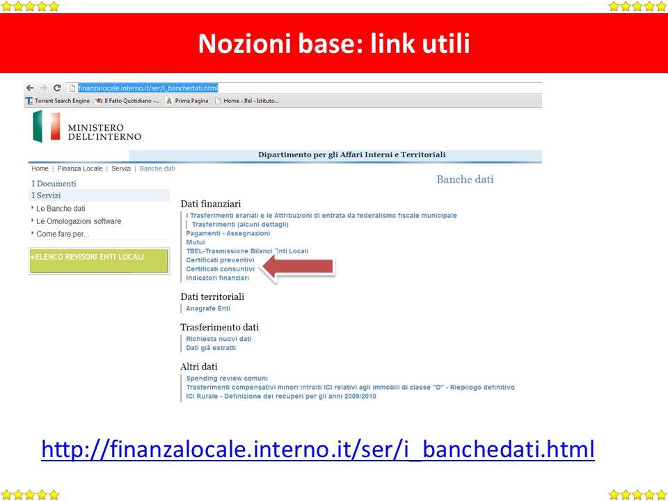 Nozioni base: link utili http://finanzalocale.interno.it/ser/i_banchedati.html