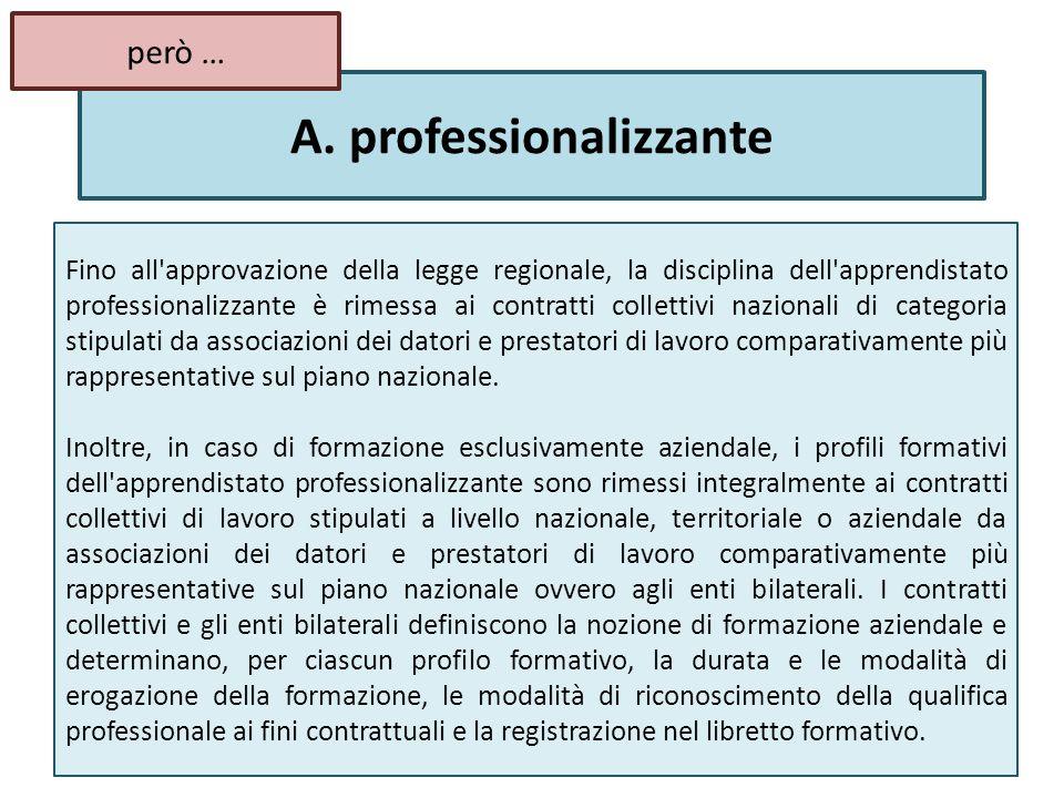 A. professionalizzante Fino all'approvazione della legge regionale, la disciplina dell'apprendistato professionalizzante è rimessa ai contratti collet