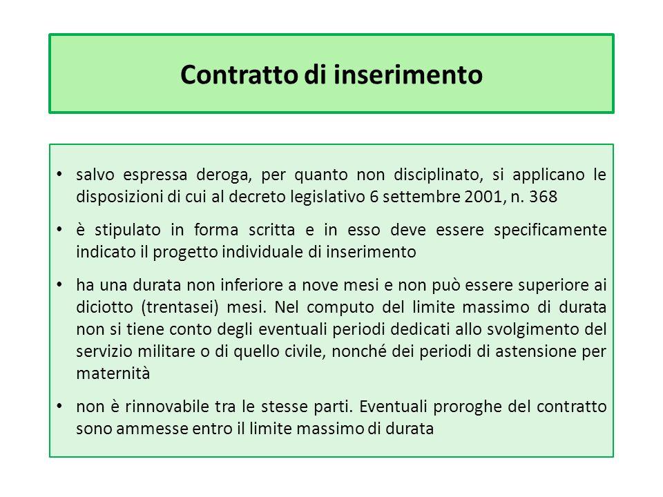 Contratto di inserimento salvo espressa deroga, per quanto non disciplinato, si applicano le disposizioni di cui al decreto legislativo 6 settembre 2001, n.
