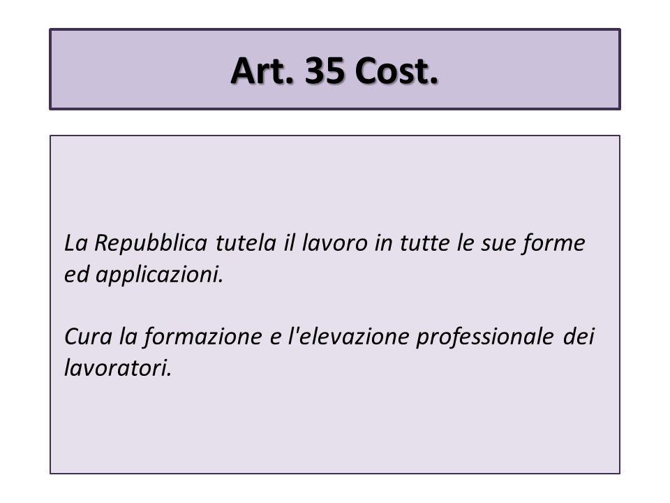 Art.35 Cost. La Repubblica tutela il lavoro in tutte le sue forme ed applicazioni.