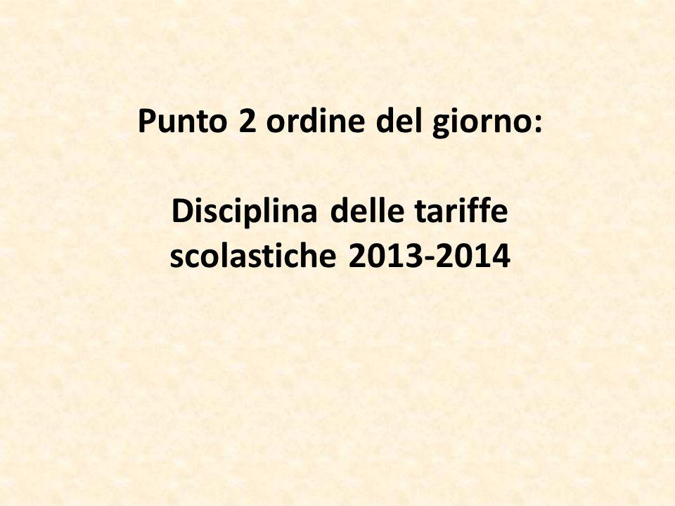 Punto 2 ordine del giorno: Disciplina delle tariffe scolastiche 2013-2014