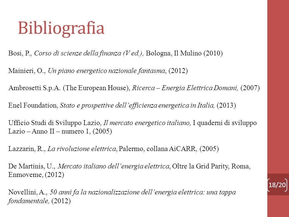 Bibliografia 18/20 Bosi, P., Corso di scienze della finanza (V ed.), Bologna, Il Mulino (2010) Mainieri, O., Un piano energetico nazionale fantasma, (