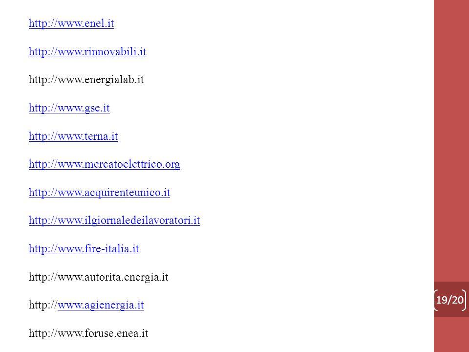 19/20 http://www.enel.it http://www.rinnovabili.it http://www.energialab.it http://www.gse.it http://www.terna.it http://www.mercatoelettrico.org http