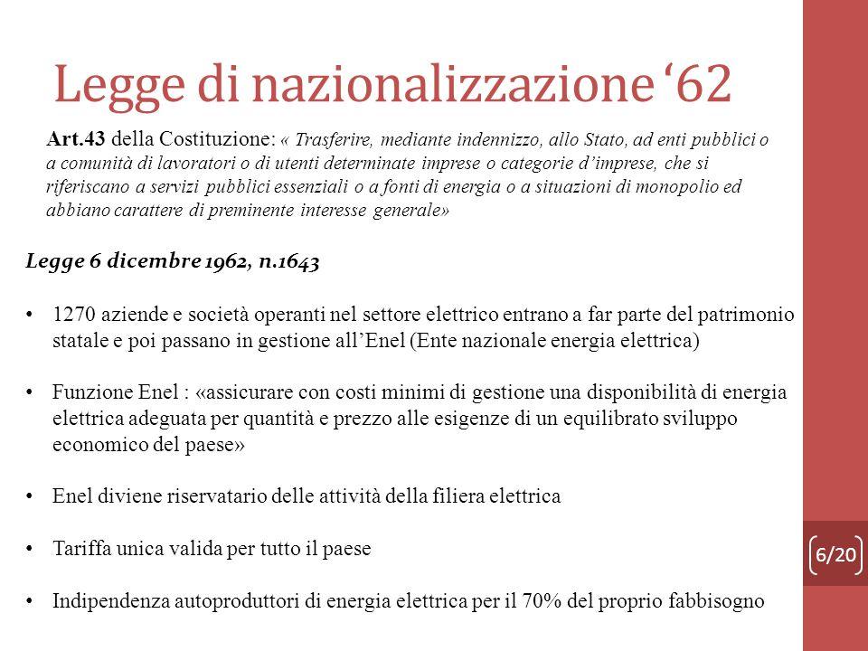 Legge di nazionalizzazione 62 6/20 Art.43 della Costituzione: « Trasferire, mediante indennizzo, allo Stato, ad enti pubblici o a comunità di lavorato