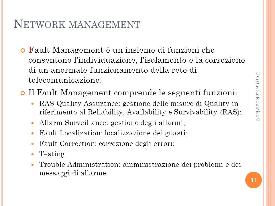 N ETWORK MANAGEMENT F ault Management è un insieme di funzioni che consentono l individuazione, l isolamento e la correzione di un anormale funzionamento della rete di telecomunicazione.