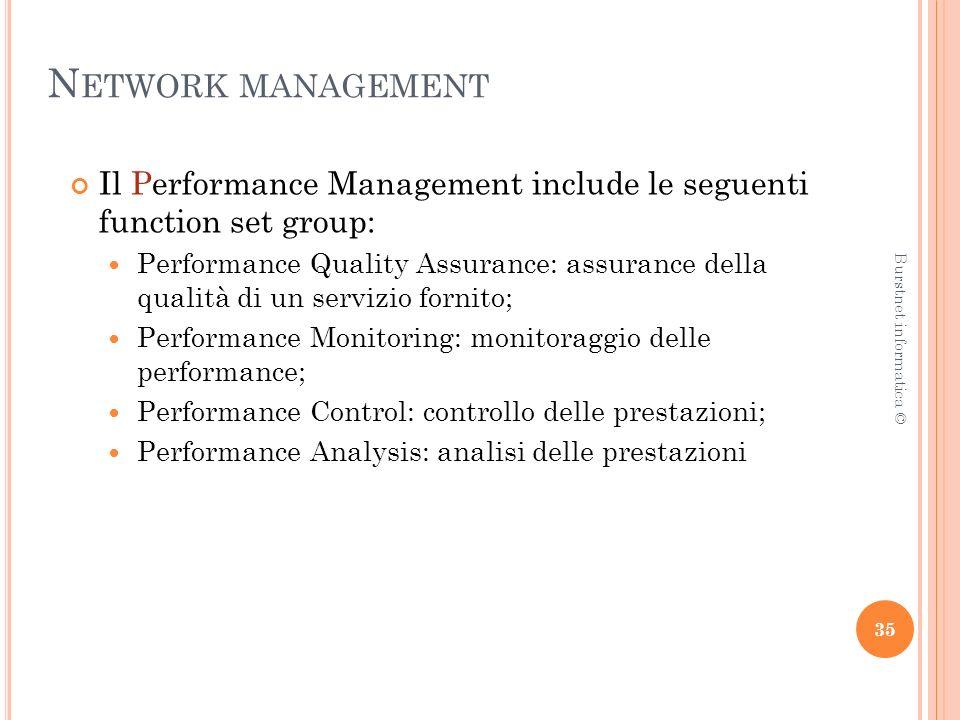 N ETWORK MANAGEMENT Il Performance Management include le seguenti function set group: Performance Quality Assurance: assurance della qualità di un servizio fornito; Performance Monitoring: monitoraggio delle performance; Performance Control: controllo delle prestazioni; Performance Analysis: analisi delle prestazioni 35 Burstnet informatica ©