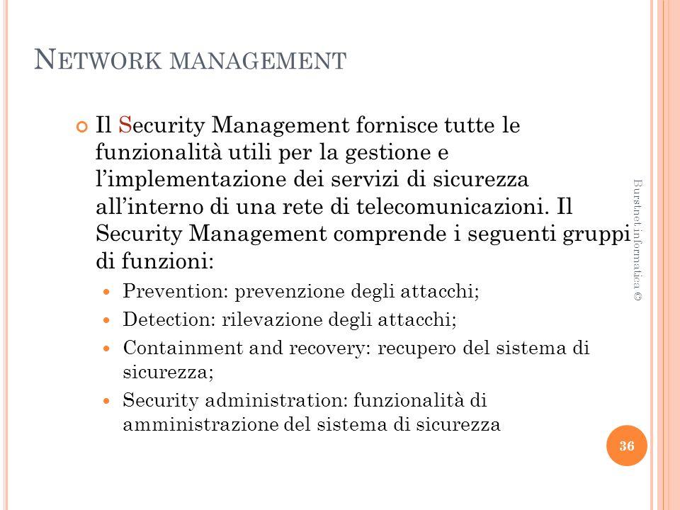 N ETWORK MANAGEMENT Il Security Management fornisce tutte le funzionalità utili per la gestione e limplementazione dei servizi di sicurezza allinterno di una rete di telecomunicazioni.