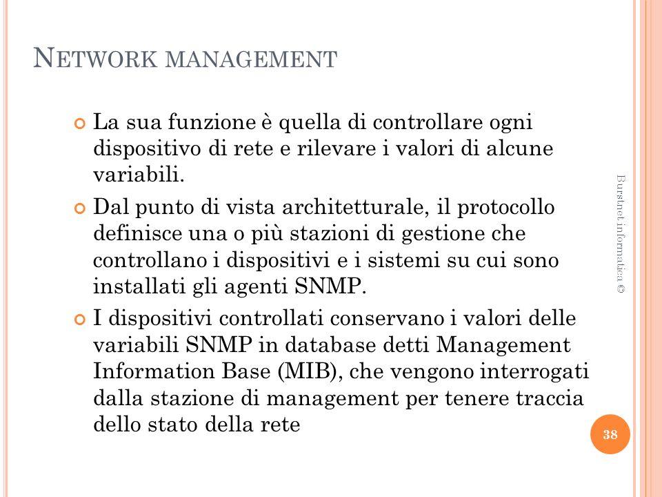 N ETWORK MANAGEMENT La sua funzione è quella di controllare ogni dispositivo di rete e rilevare i valori di alcune variabili.