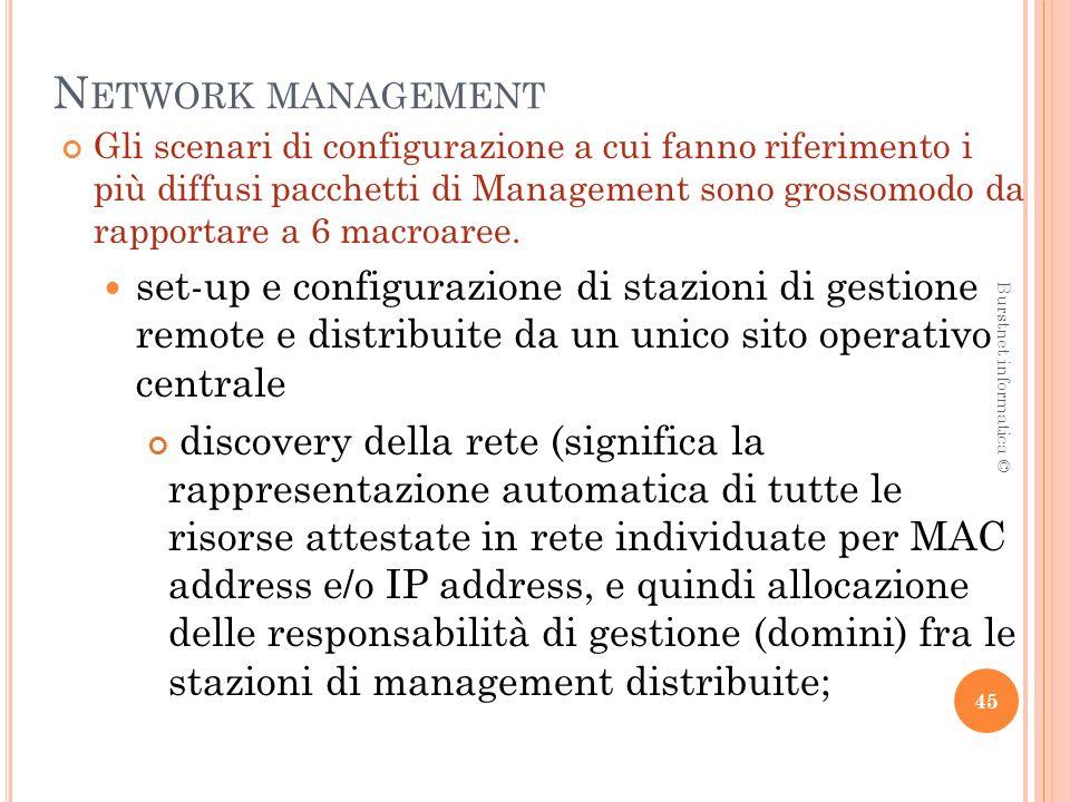 N ETWORK MANAGEMENT Gli scenari di configurazione a cui fanno riferimento i più diffusi pacchetti di Management sono grossomodo da rapportare a 6 macroaree.