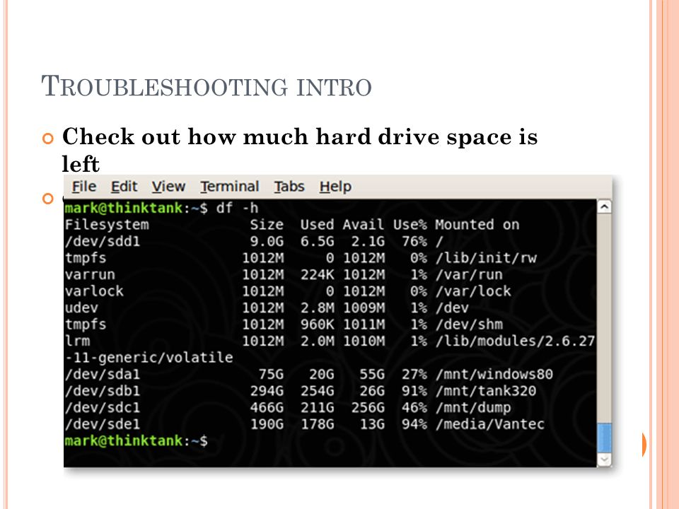 T ROUBLESHOOTING INTRO Check out how much hard drive space is left df -h 52 Burstnet informatica ©