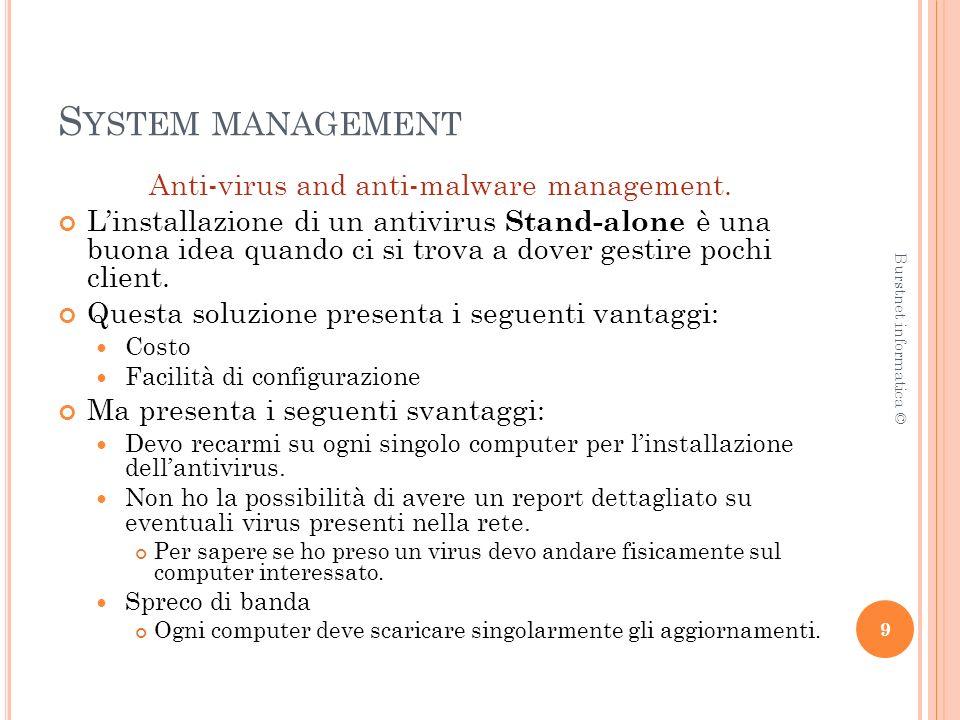 S YSTEM MANAGEMENT Security management Security management è il termine che racchiude tutte quelle attività gestionali di individuazione, valorizzazione, analisi dei rischi di un sistema, volte ad evitare furti, frodi, divulgazione di informazioni.