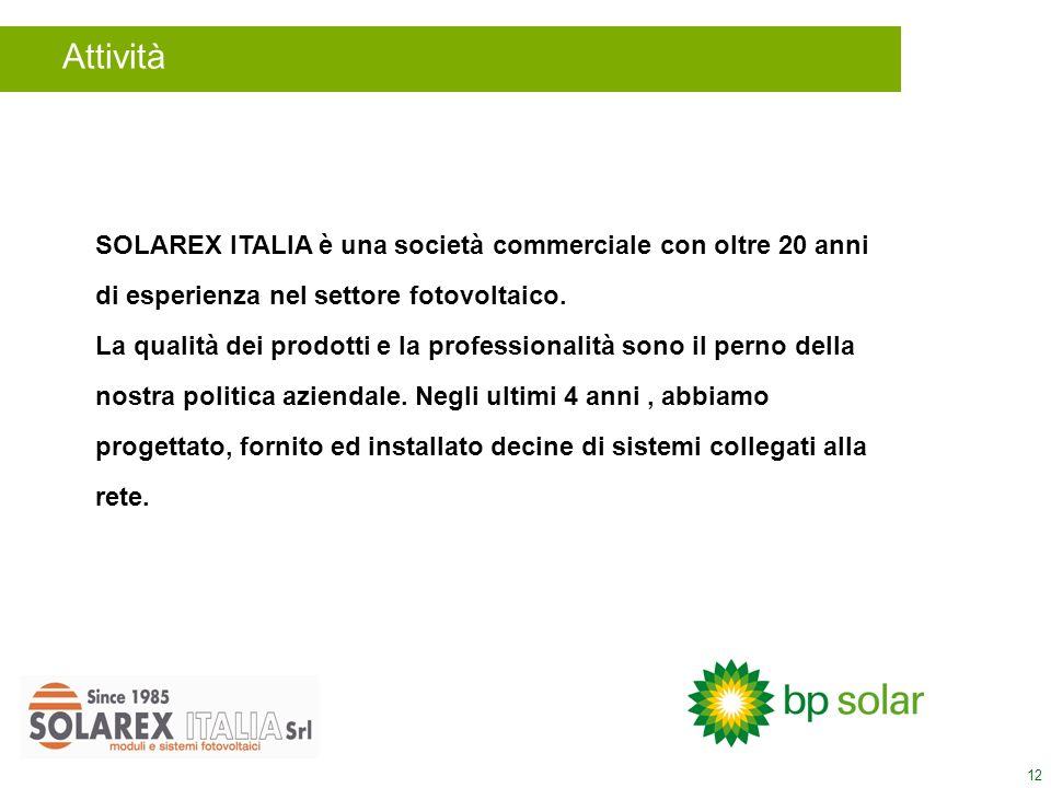 12 Attività SOLAREX ITALIA è una società commerciale con oltre 20 anni di esperienza nel settore fotovoltaico. La qualità dei prodotti e la profession