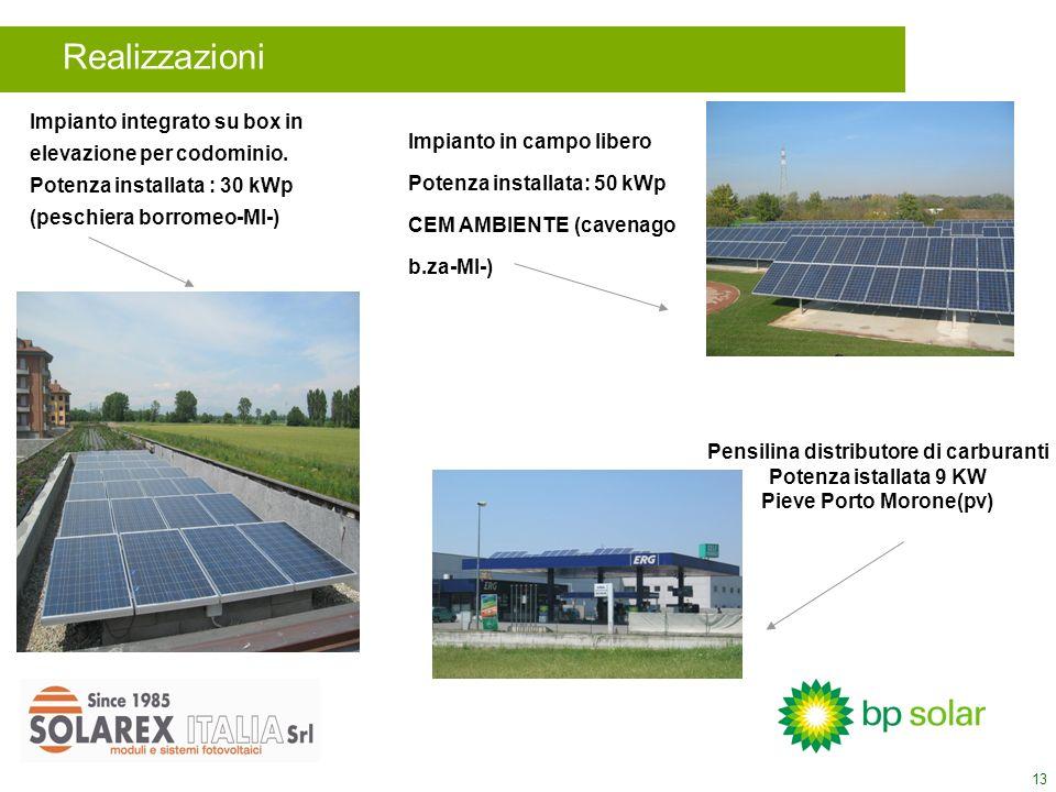 13 Realizzazioni Impianto integrato su box in elevazione per codominio. Potenza installata : 30 kWp (peschiera borromeo-MI-) Impianto in campo libero