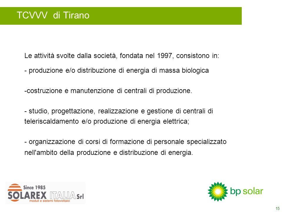 15 Le attività svolte dalla società, fondata nel 1997, consistono in: - produzione e/o distribuzione di energia di massa biologica -costruzione e manutenzione di centrali di produzione.