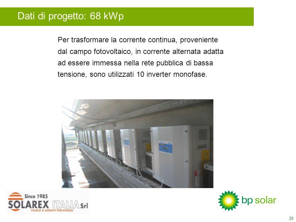 20 Per trasformare la corrente continua, proveniente dal campo fotovoltaico, in corrente alternata adatta ad essere immessa nella rete pubblica di bassa tensione, sono utilizzati 10 inverter monofase.