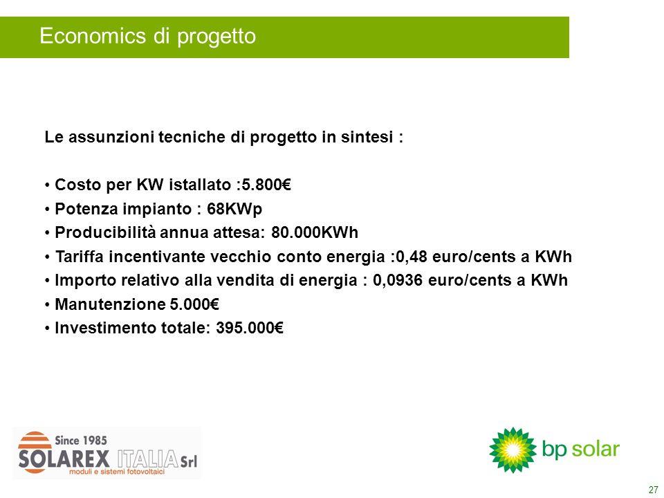 27 Le assunzioni tecniche di progetto in sintesi : Costo per KW istallato :5.800 Potenza impianto : 68KWp Producibilità annua attesa: 80.000KWh Tariffa incentivante vecchio conto energia :0,48 euro/cents a KWh Importo relativo alla vendita di energia : 0,0936 euro/cents a KWh Manutenzione 5.000 Investimento totale: 395.000 Economics di progetto