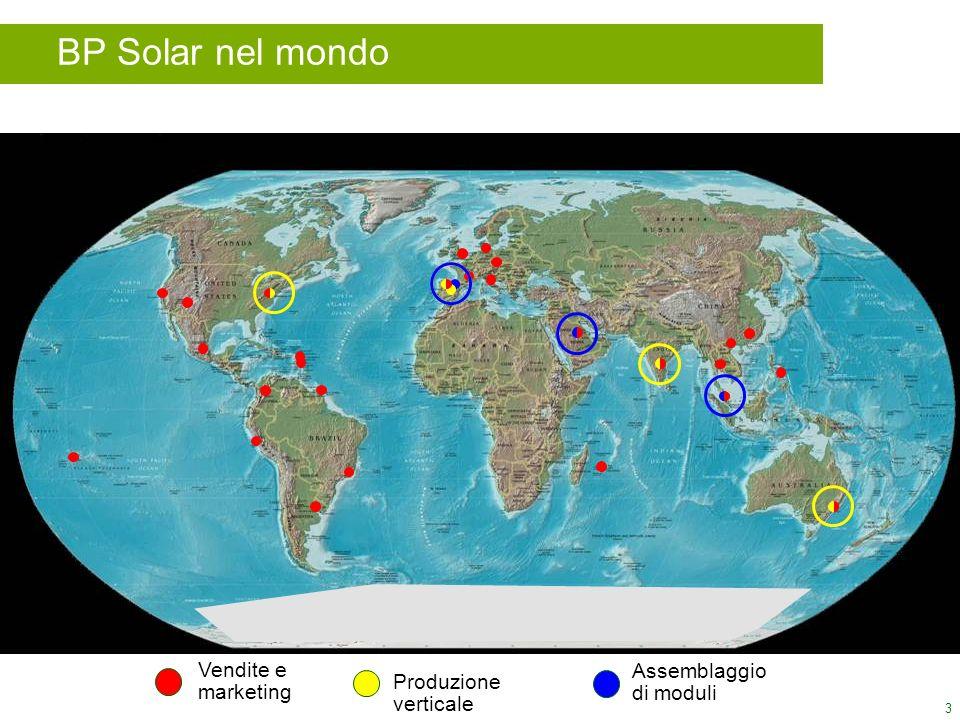 3 Vendite e marketing Produzione verticale Assemblaggio di moduli BP Solar nel mondo