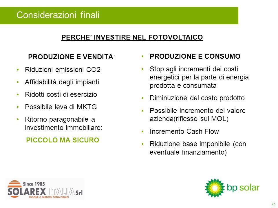 31 PRODUZIONE E VENDITA: Riduzioni emissioni CO2 Affidabilità degli impianti Ridotti costi di esercizio Possibile leva di MKTG Ritorno paragonabile a