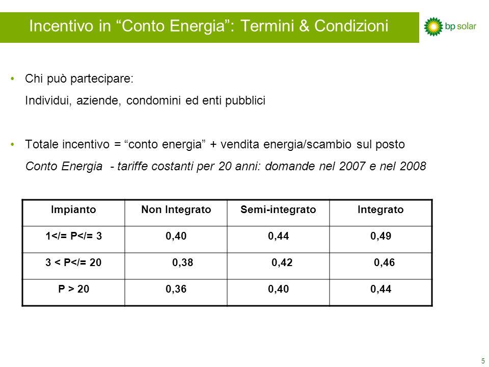 5 Incentivo in Conto Energia: Termini & Condizioni Chi può partecipare: Individui, aziende, condomini ed enti pubblici Totale incentivo = conto energia + vendita energia/scambio sul posto Conto Energia - tariffe costanti per 20 anni: domande nel 2007 e nel 2008 ImpiantoNon IntegratoSemi-integratoIntegrato 1</= P</= 30,400,440,49 3 < P</= 20 0,38 0,42 0,46 P > 200,360,400,44