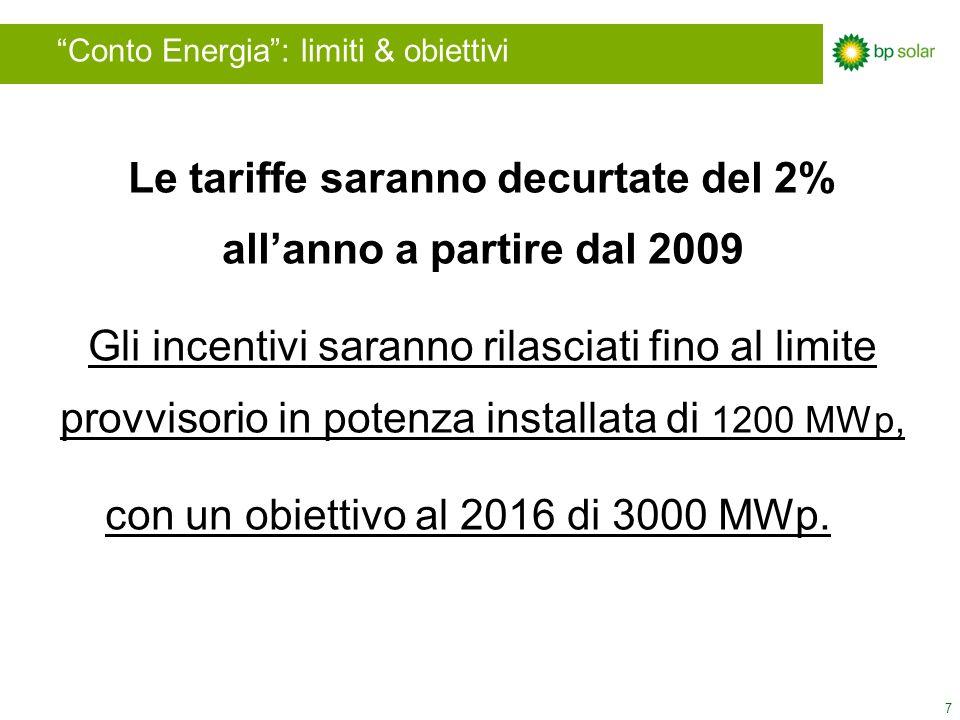 7 Conto Energia: limiti & obiettivi Le tariffe saranno decurtate del 2% allanno a partire dal 2009 Gli incentivi saranno rilasciati fino al limite provvisorio in potenza installata di 1200 MWp, con un obiettivo al 2016 di 3000 MWp.