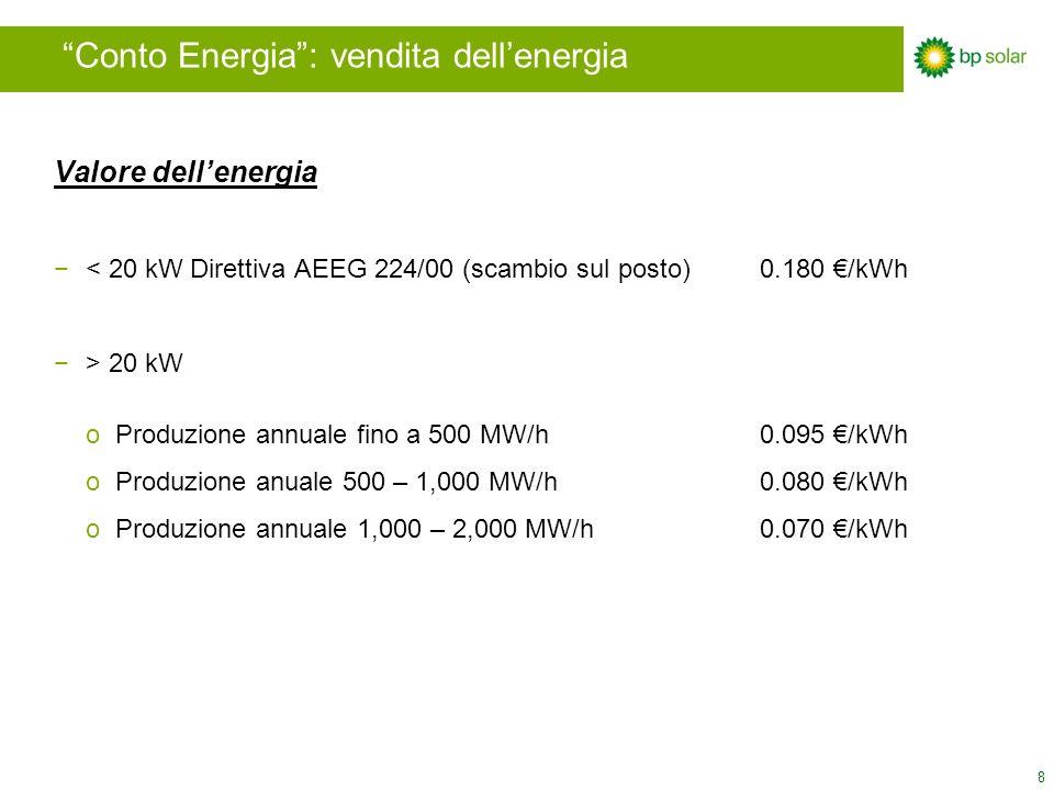 8 Conto Energia: vendita dellenergia Valore dellenergia < 20 kW Direttiva AEEG 224/00 (scambio sul posto)0.180 /kWh > 20 kW oProduzione annuale fino a