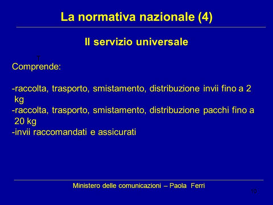 10 Ministero delle comunicazioni – Paola Ferri La normativa nazionale (4) T Il servizio universale Comprende: -raccolta, trasporto, smistamento, distr