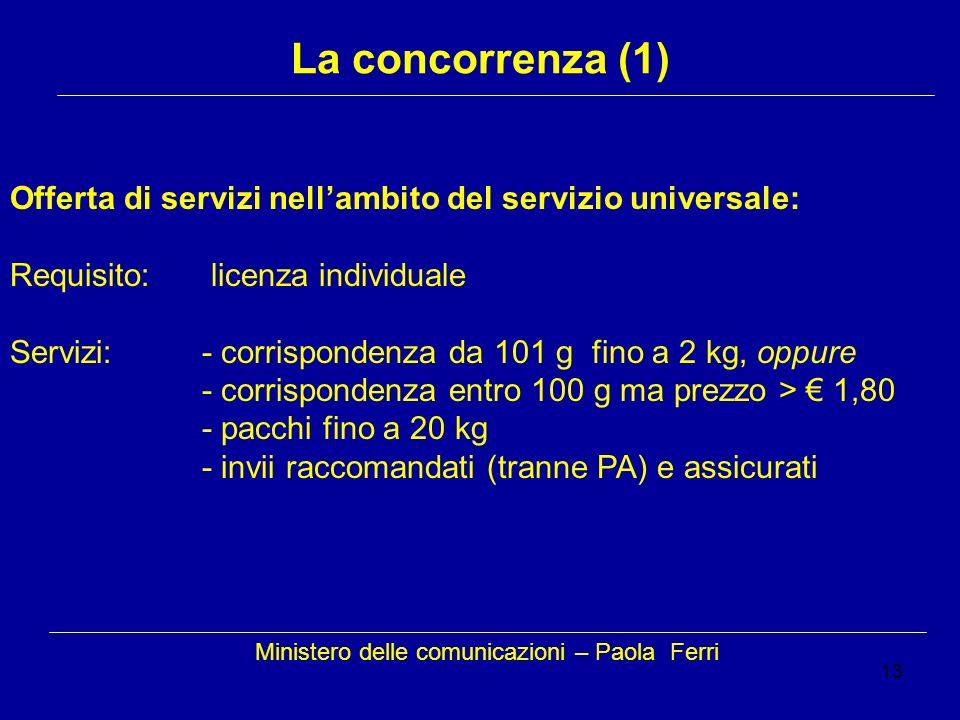 13 Ministero delle comunicazioni – Paola Ferri La concorrenza (1) Offerta di servizi nellambito del servizio universale: Requisito: licenza individual