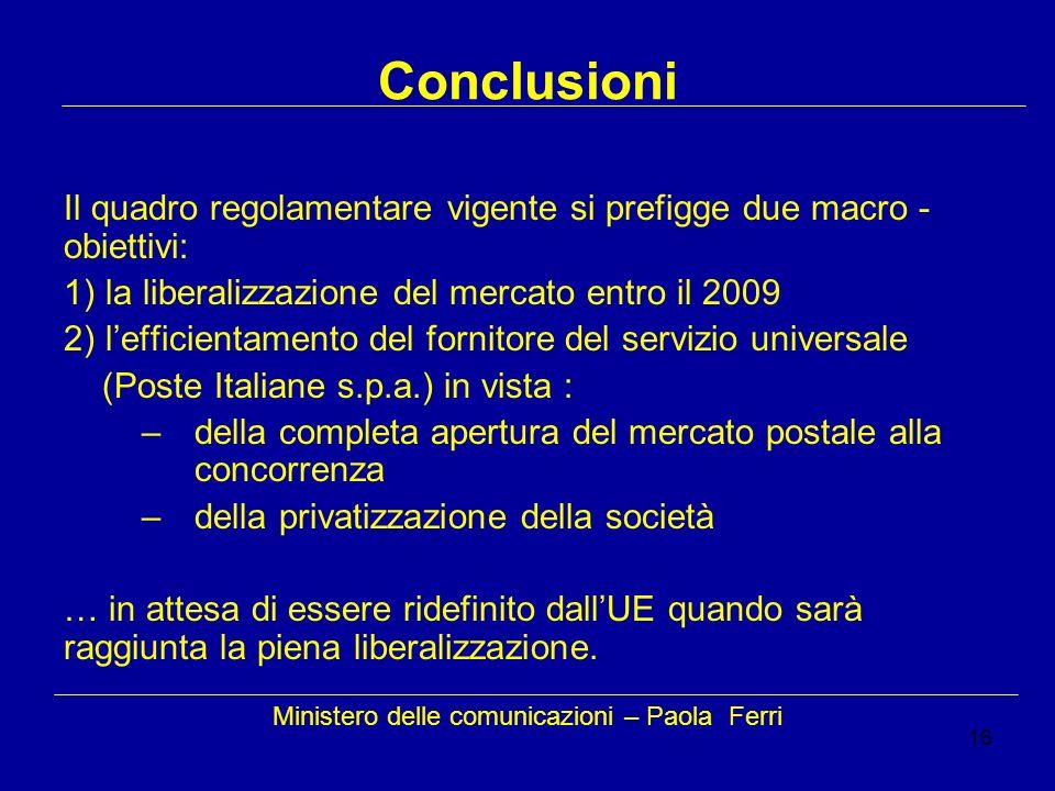 16 Conclusioni Il quadro regolamentare vigente si prefigge due macro - obiettivi: 1) la liberalizzazione del mercato entro il 2009 2) lefficientamento