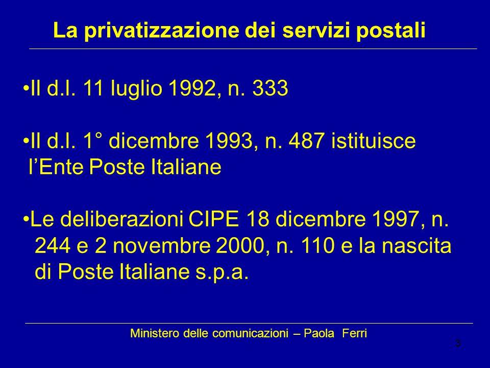 3 Ministero delle comunicazioni – Paola Ferri La privatizzazione dei servizi postali Il d.l. 11 luglio 1992, n. 333 Il d.l. 1° dicembre 1993, n. 487 i