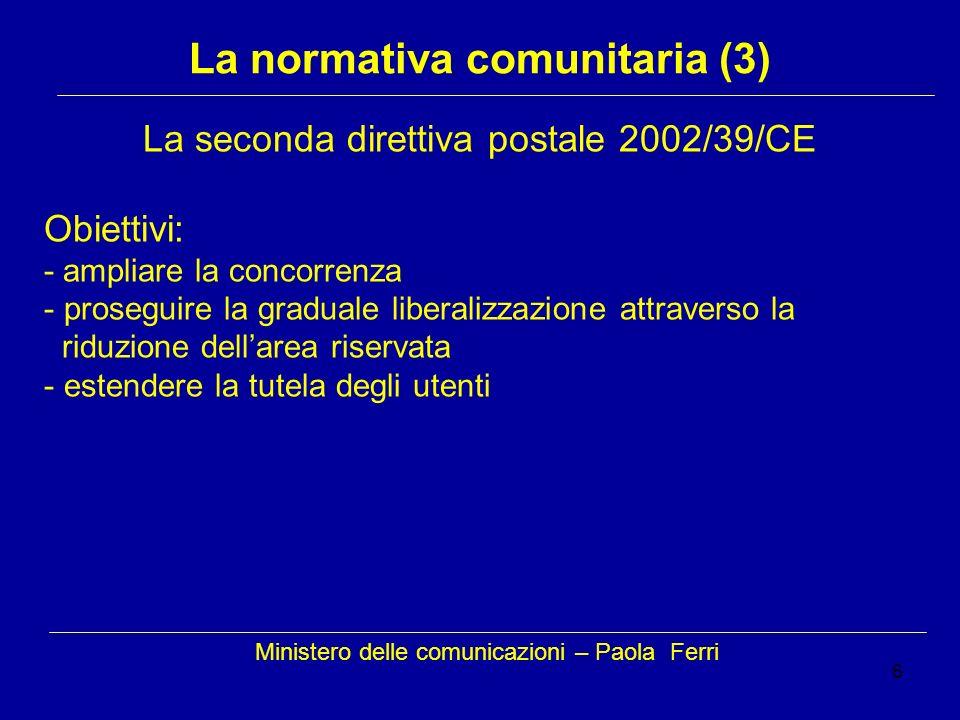 6 Ministero delle comunicazioni – Paola Ferri La normativa comunitaria (3) La seconda direttiva postale 2002/39/CE Obiettivi: - ampliare la concorrenza - proseguire la graduale liberalizzazione attraverso la riduzione dellarea riservata - estendere la tutela degli utenti