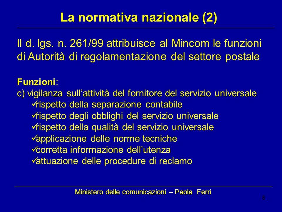 8 Ministero delle comunicazioni – Paola Ferri La normativa nazionale (2) Il d. lgs. n. 261/99 attribuisce al Mincom le funzioni di Autorità di regolam
