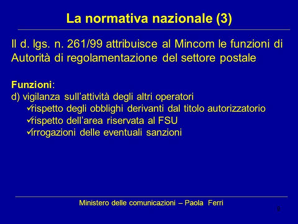 9 Ministero delle comunicazioni – Paola Ferri La normativa nazionale (3) Il d. lgs. n. 261/99 attribuisce al Mincom le funzioni di Autorità di regolam