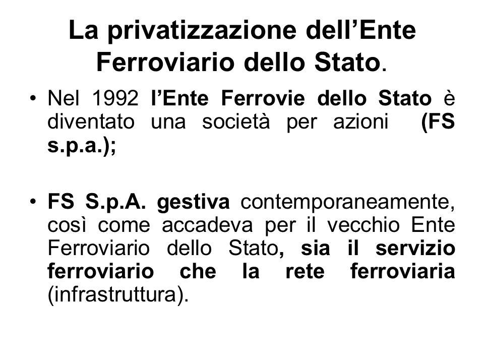 La privatizzazione dellEnte Ferroviario dello Stato. Nel 1992 lEnte Ferrovie dello Stato è diventato una società per azioni (FS s.p.a.); FS S.p.A. ges
