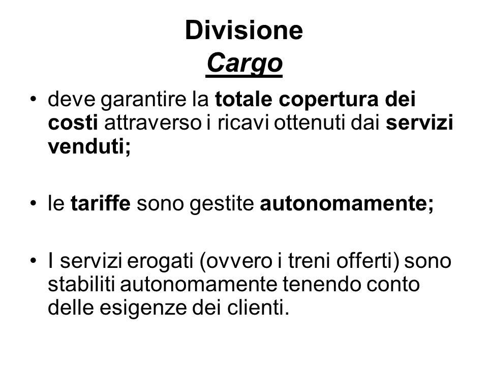 Divisione Cargo deve garantire la totale copertura dei costi attraverso i ricavi ottenuti dai servizi venduti; le tariffe sono gestite autonomamente; I servizi erogati (ovvero i treni offerti) sono stabiliti autonomamente tenendo conto delle esigenze dei clienti.