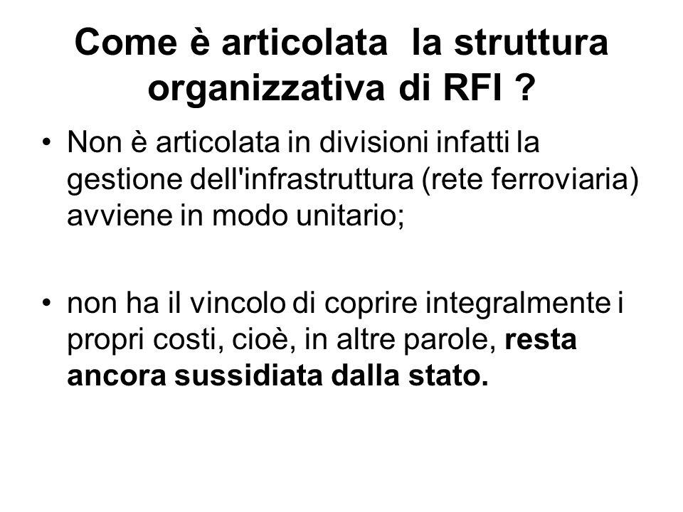 Come è articolata la struttura organizzativa di RFI ? Non è articolata in divisioni infatti la gestione dell'infrastruttura (rete ferroviaria) avviene