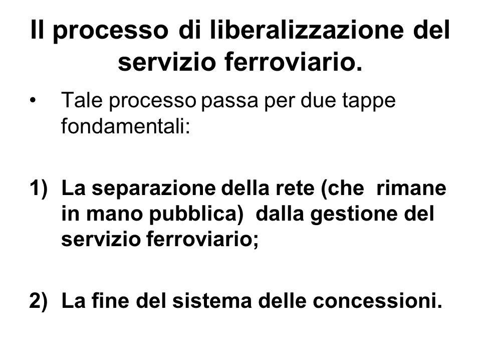 Il processo di liberalizzazione del servizio ferroviario. Tale processo passa per due tappe fondamentali: 1)La separazione della rete (che rimane in m