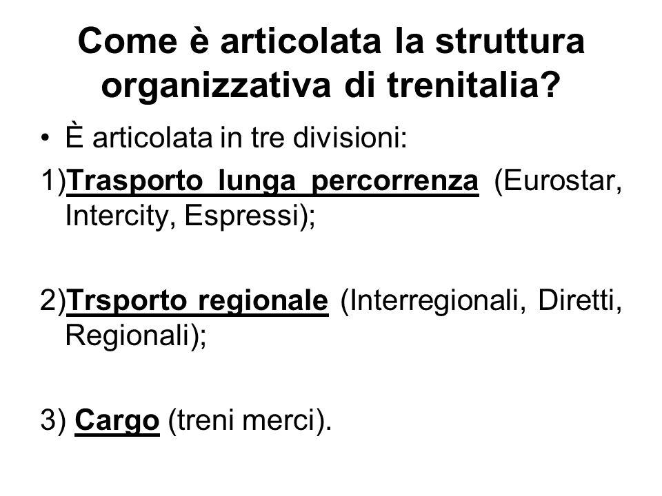 Come è articolata la struttura organizzativa di trenitalia? È articolata in tre divisioni: 1)Trasporto lunga percorrenza (Eurostar, Intercity, Espress