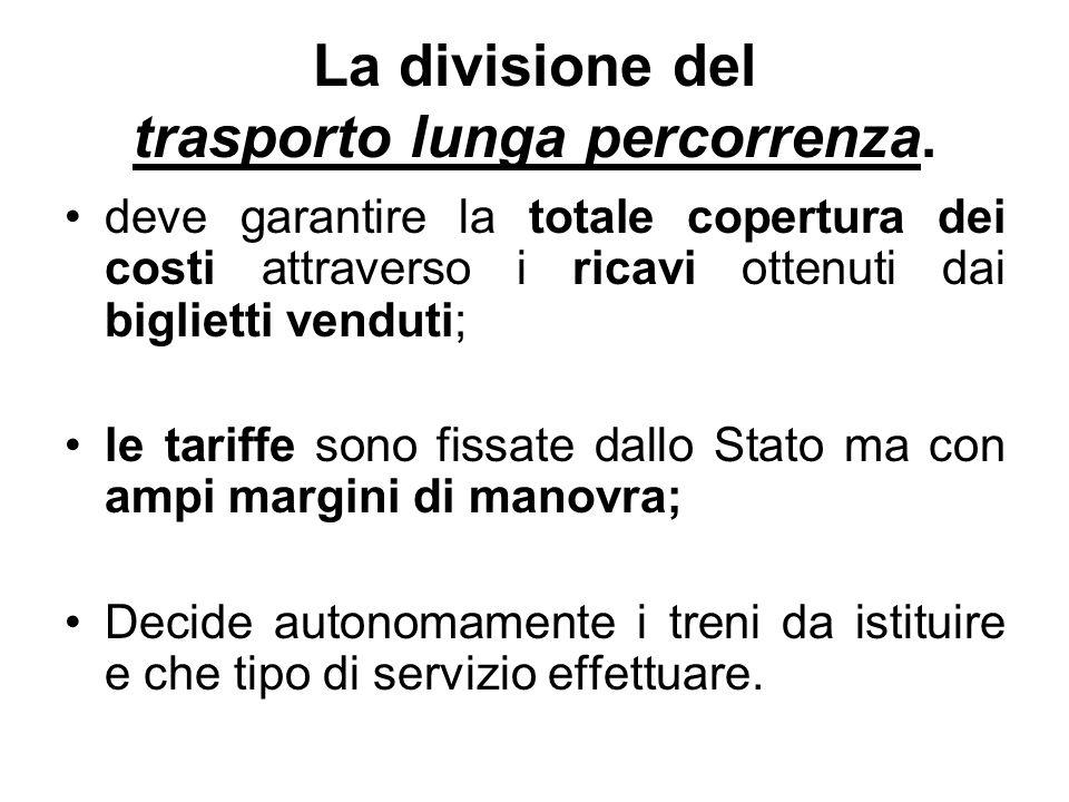 La divisione del trasporto lunga percorrenza. deve garantire la totale copertura dei costi attraverso i ricavi ottenuti dai biglietti venduti; le tari