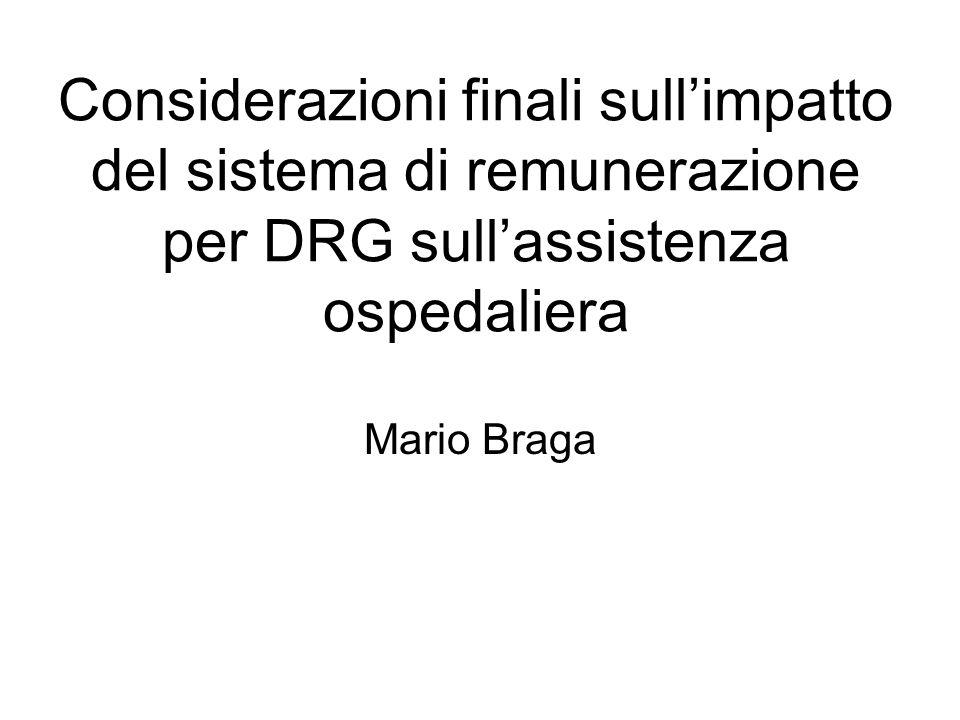 Considerazioni finali sullimpatto del sistema di remunerazione per DRG sullassistenza ospedaliera Mario Braga