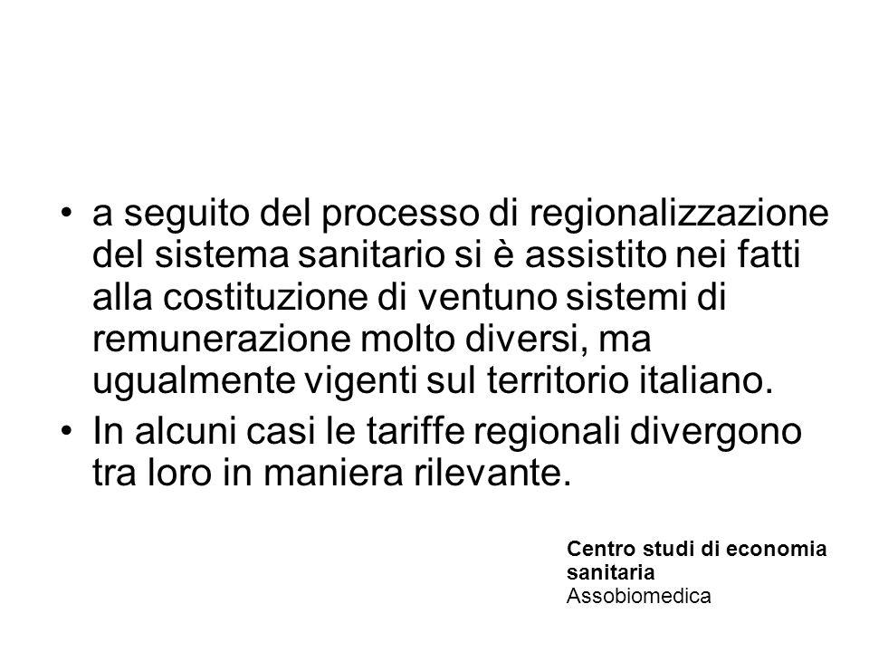 a seguito del processo di regionalizzazione del sistema sanitario si è assistito nei fatti alla costituzione di ventuno sistemi di remunerazione molto