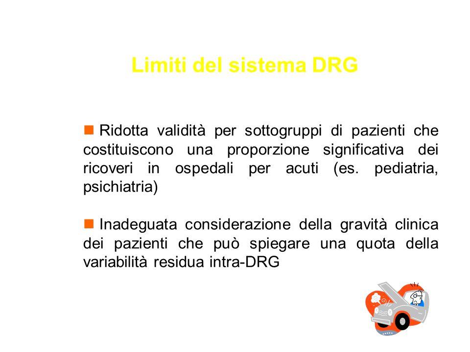 Limiti del sistema DRG n Ridotta validità per sottogruppi di pazienti che costituiscono una proporzione significativa dei ricoveri in ospedali per acu