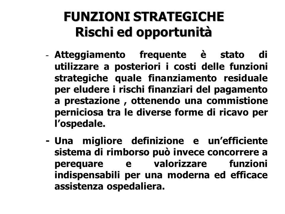 FUNZIONI STRATEGICHE Rischi ed opportunità - Atteggiamento frequente è stato di utilizzare a posteriori i costi delle funzioni strategiche quale finan