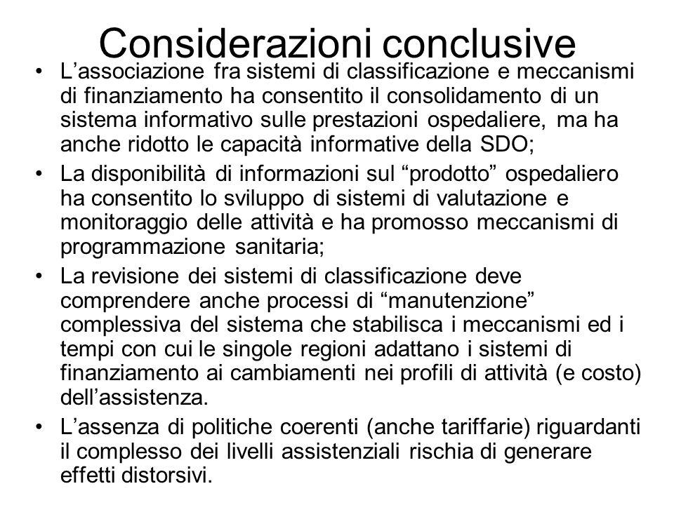 Considerazioni conclusive Lassociazione fra sistemi di classificazione e meccanismi di finanziamento ha consentito il consolidamento di un sistema inf