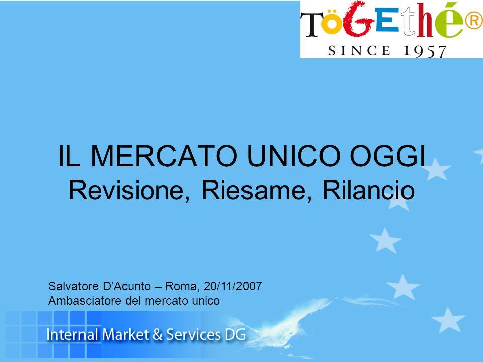 IL MERCATO UNICO OGGI Revisione, Riesame, Rilancio Salvatore DAcunto – Roma, 20/11/2007 Ambasciatore del mercato unico