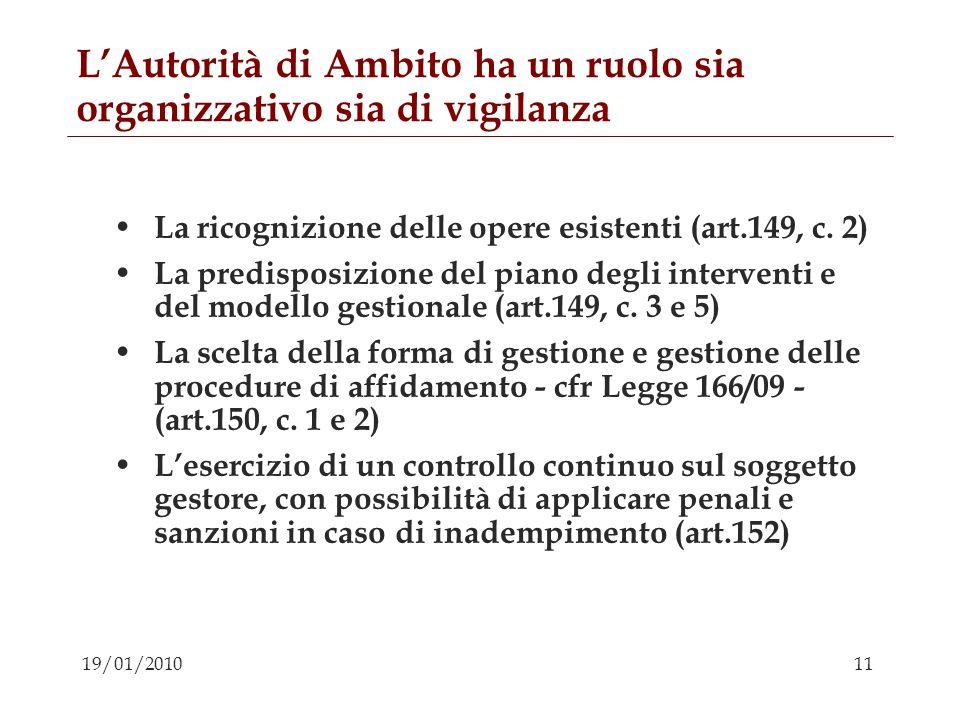 11 19/01/2010 LAutorità di Ambito ha un ruolo sia organizzativo sia di vigilanza La ricognizione delle opere esistenti (art.149, c. 2) La predisposizi