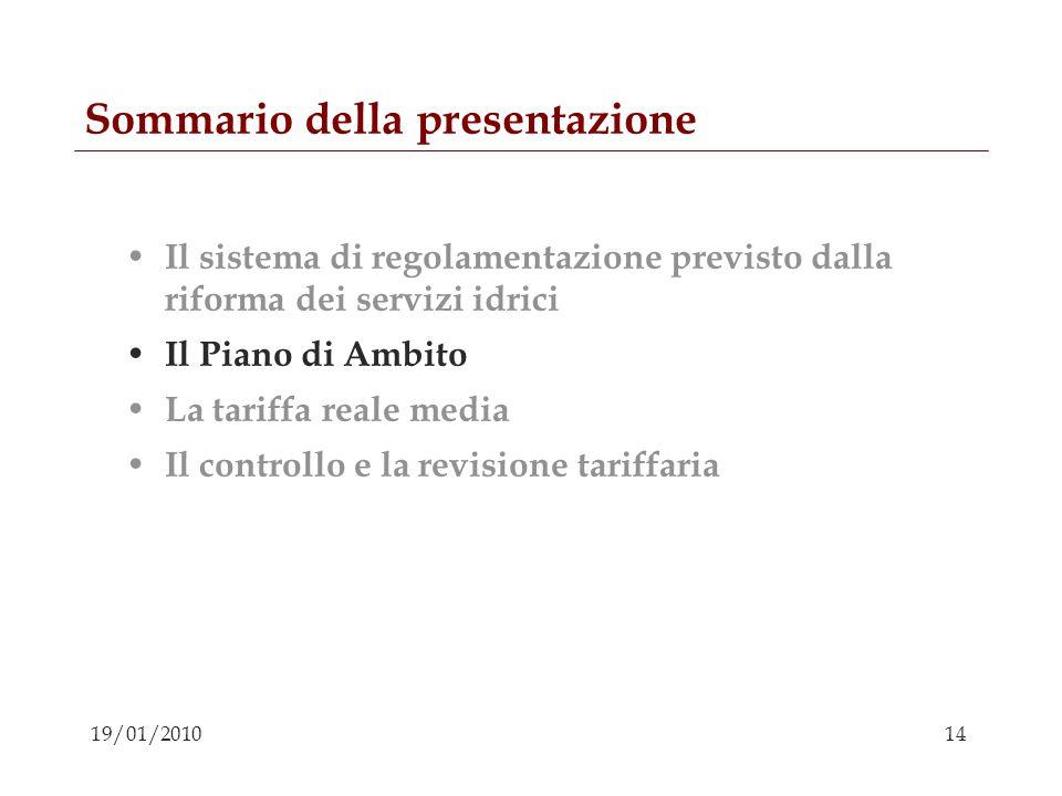 14 19/01/2010 Sommario della presentazione Il sistema di regolamentazione previsto dalla riforma dei servizi idrici Il Piano di Ambito La tariffa real