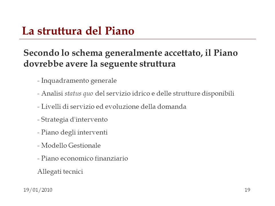 19 19/01/2010 La struttura del Piano Secondo lo schema generalmente accettato, il Piano dovrebbe avere la seguente struttura - Inquadramento generale