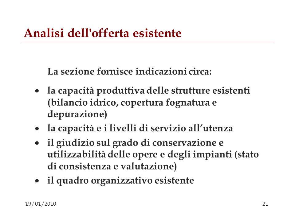 21 19/01/2010 Analisi dell'offerta esistente La sezione fornisce indicazioni circa: la capacità produttiva delle strutture esistenti (bilancio idrico,