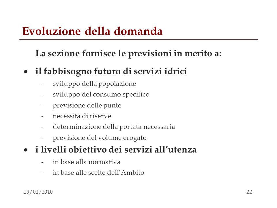22 19/01/2010 Evoluzione della domanda La sezione fornisce le previsioni in merito a: il fabbisogno futuro di servizi idrici -sviluppo della popolazio